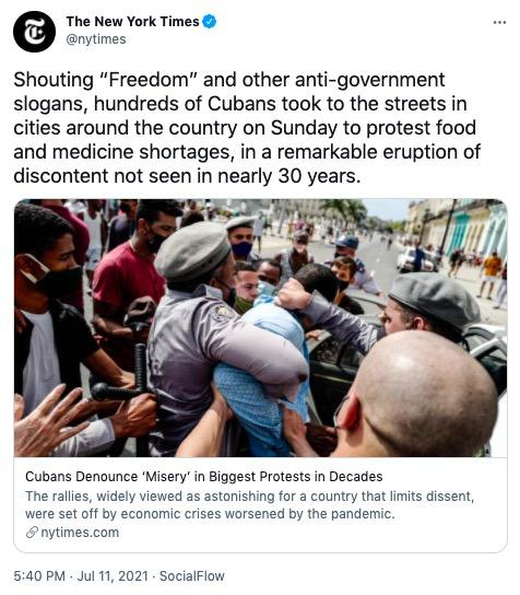 Cubans protesting communism